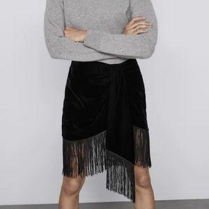 Zara Asymmetrical Black Velvet Fringe Skirt